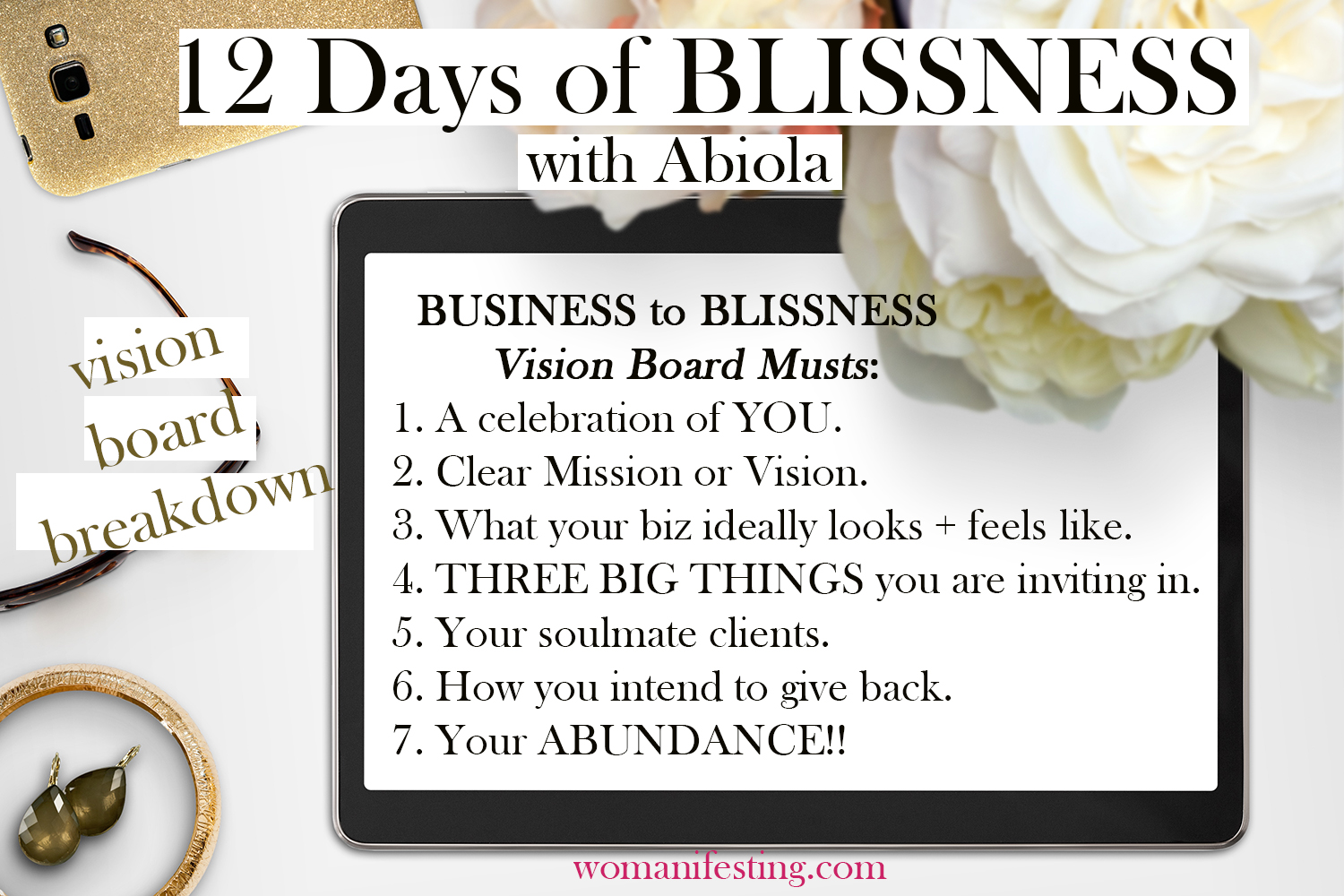 12 days of blissness 2018 vision board list