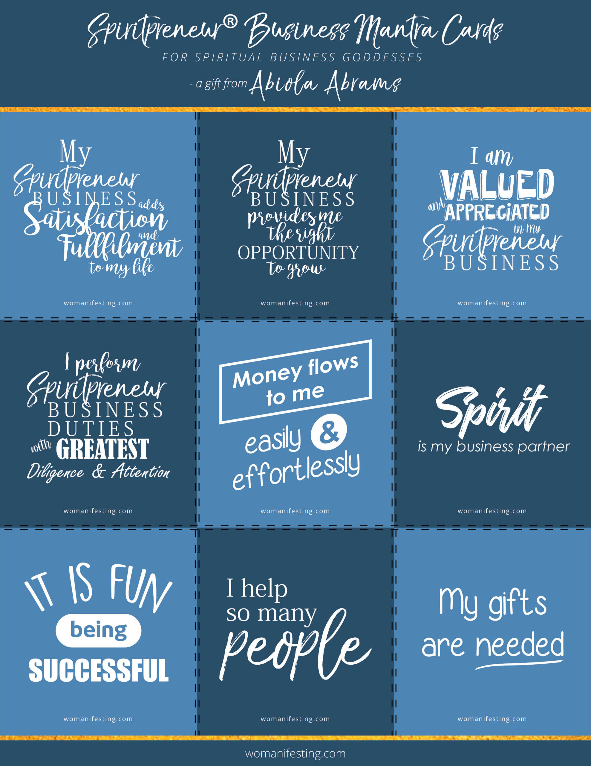 Free Printable Spiritual Business Mantra Inspiration Cards