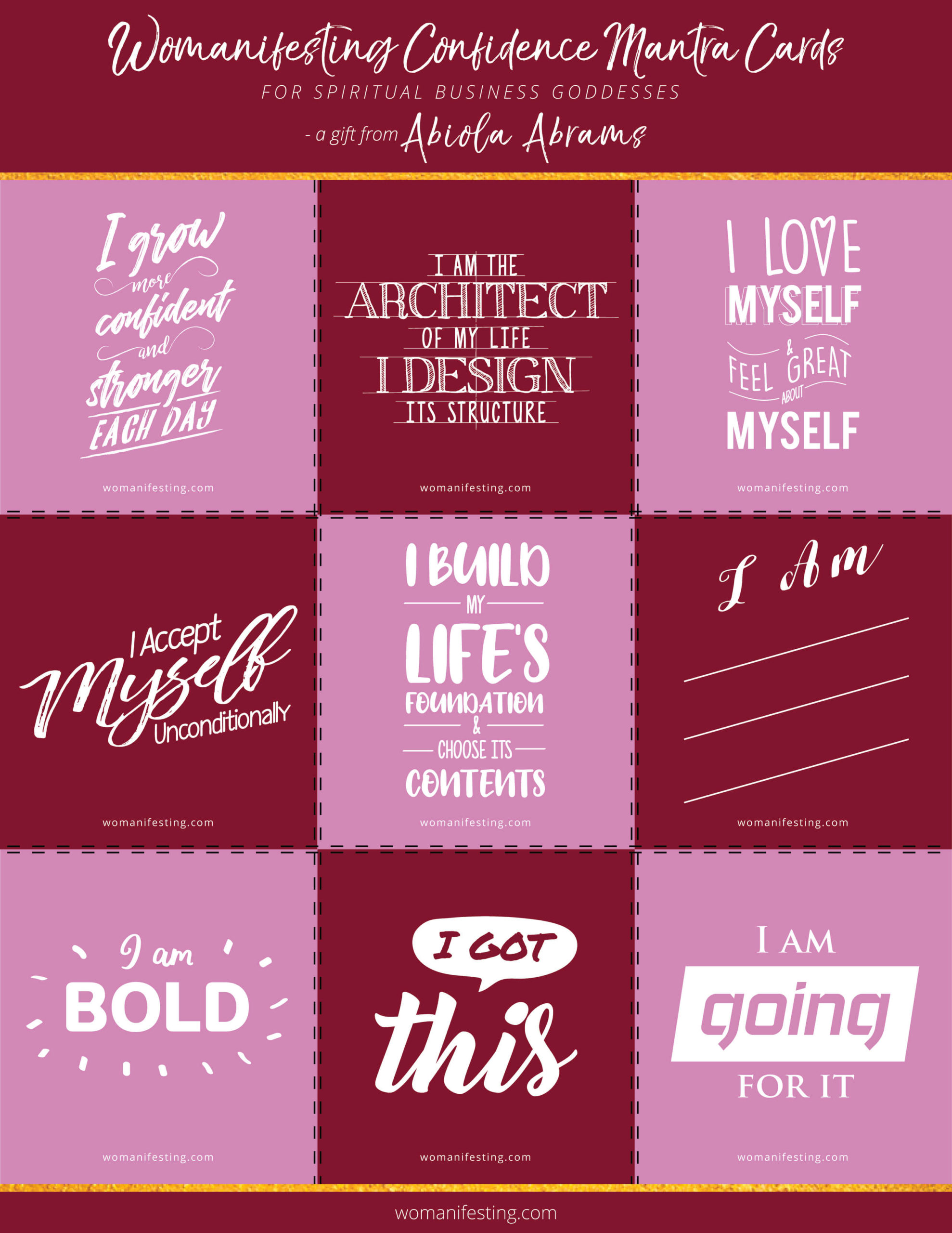 Free Printable Lifestyle Confidence Mantra Affirmation Cards