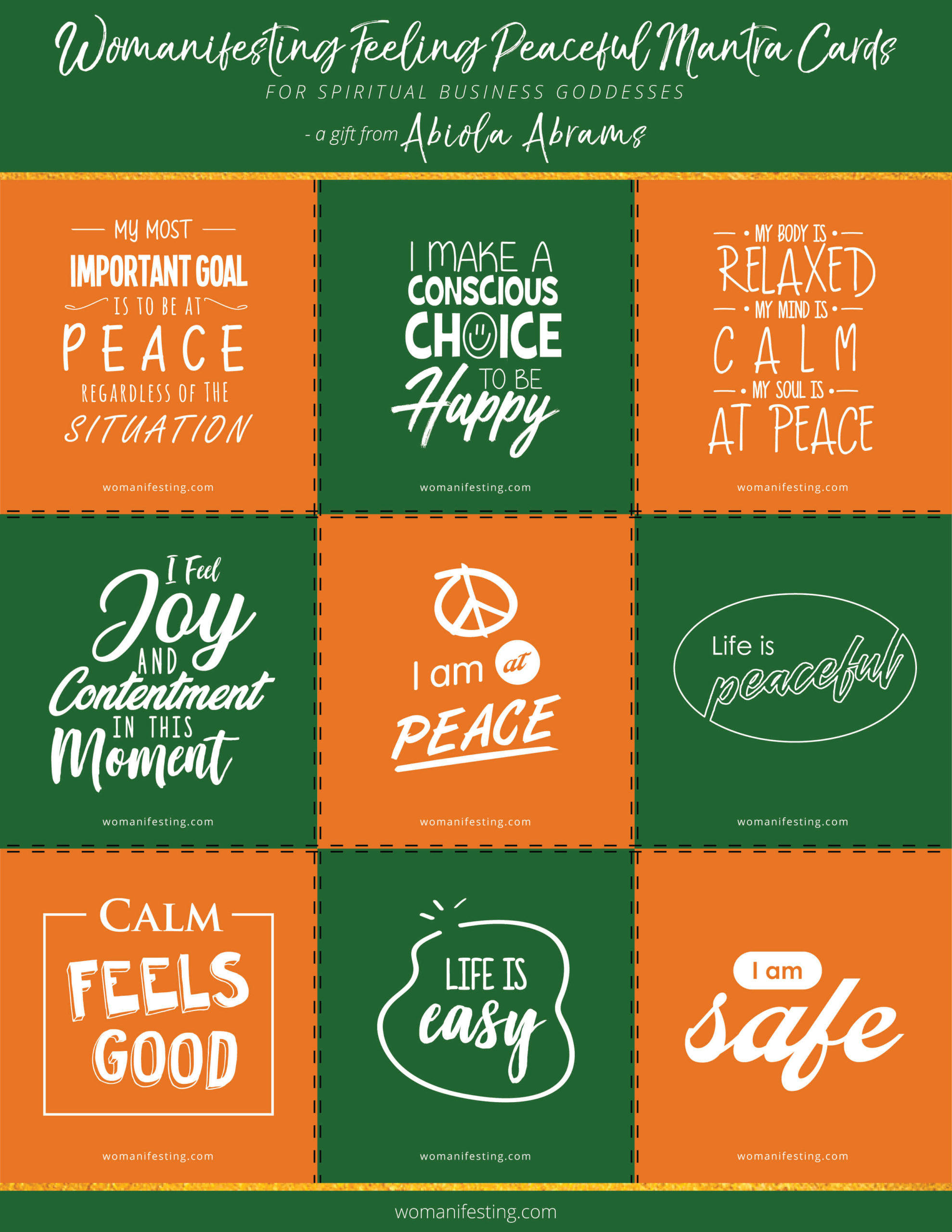 Free Peace Mantra Affirmation Cards [Printable Inspiration]