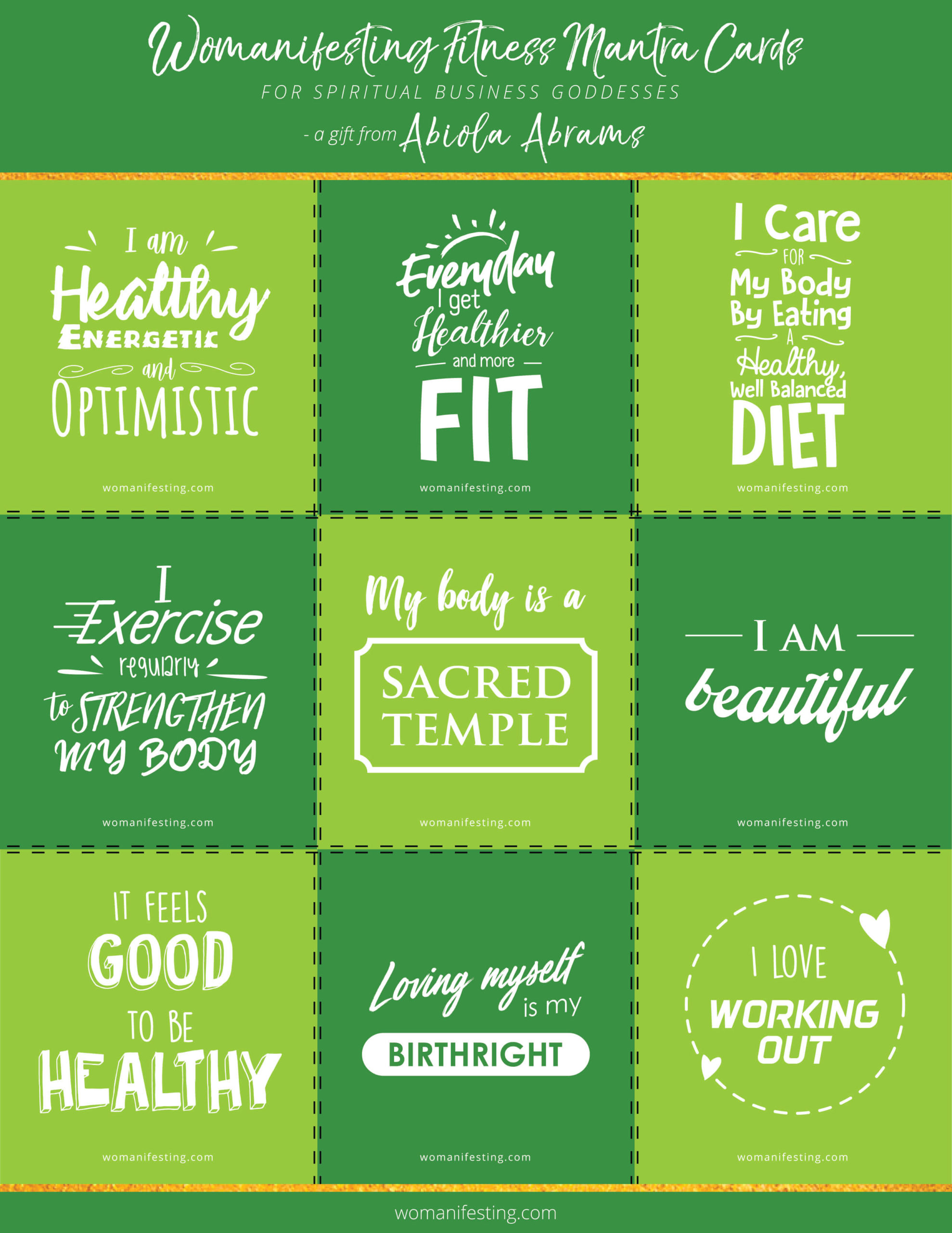 Health & Fitness Mantra Cards: Free, Printable & Downloadable Affirmations