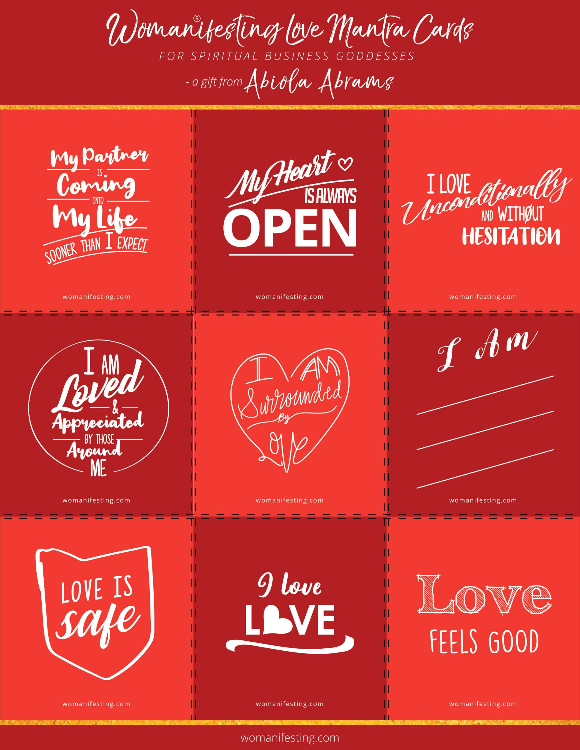 Free Relationship and Love Mantra Affirmation Cards [Printable Inspiration]