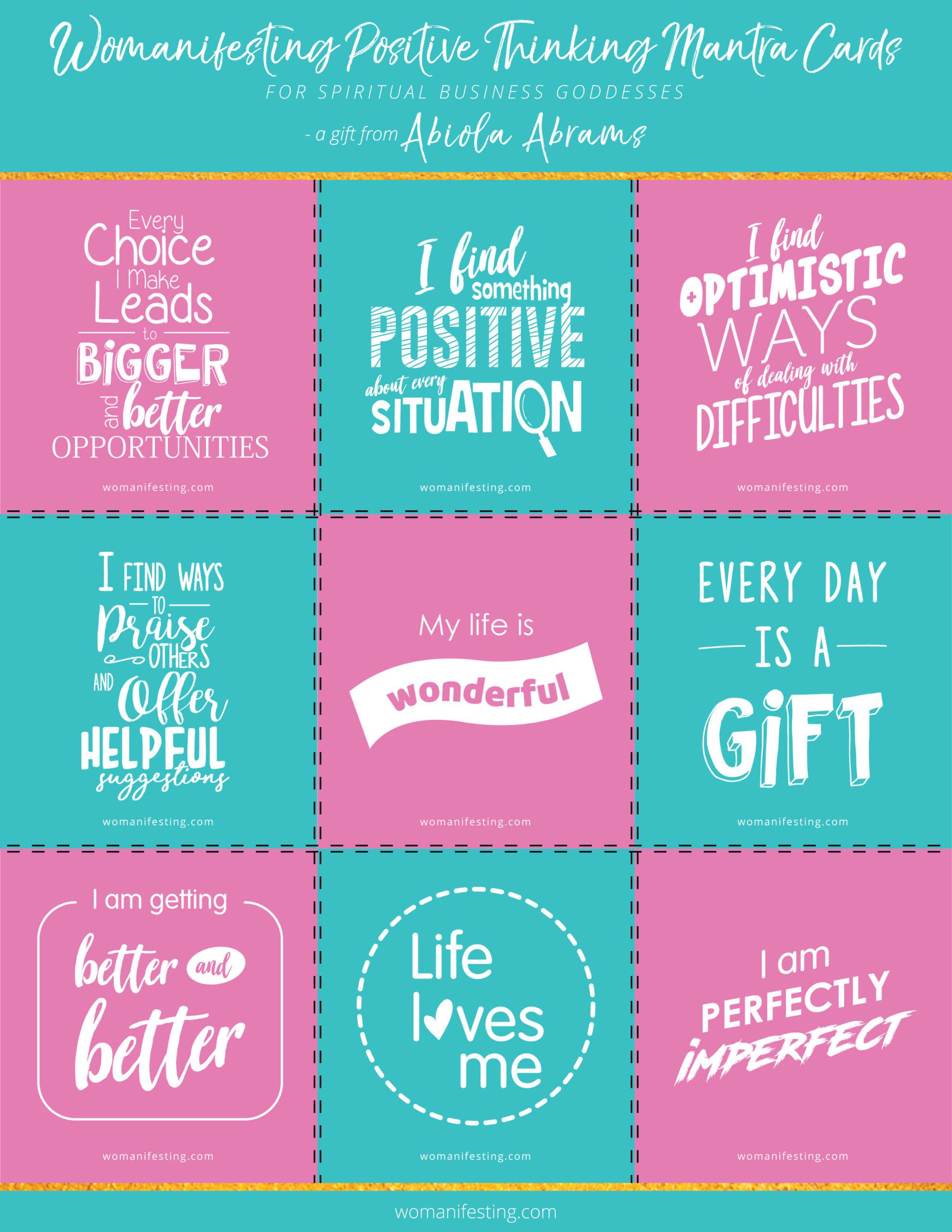 Free Positivity Mantra Affirmation Cards [Printable Inspiration]