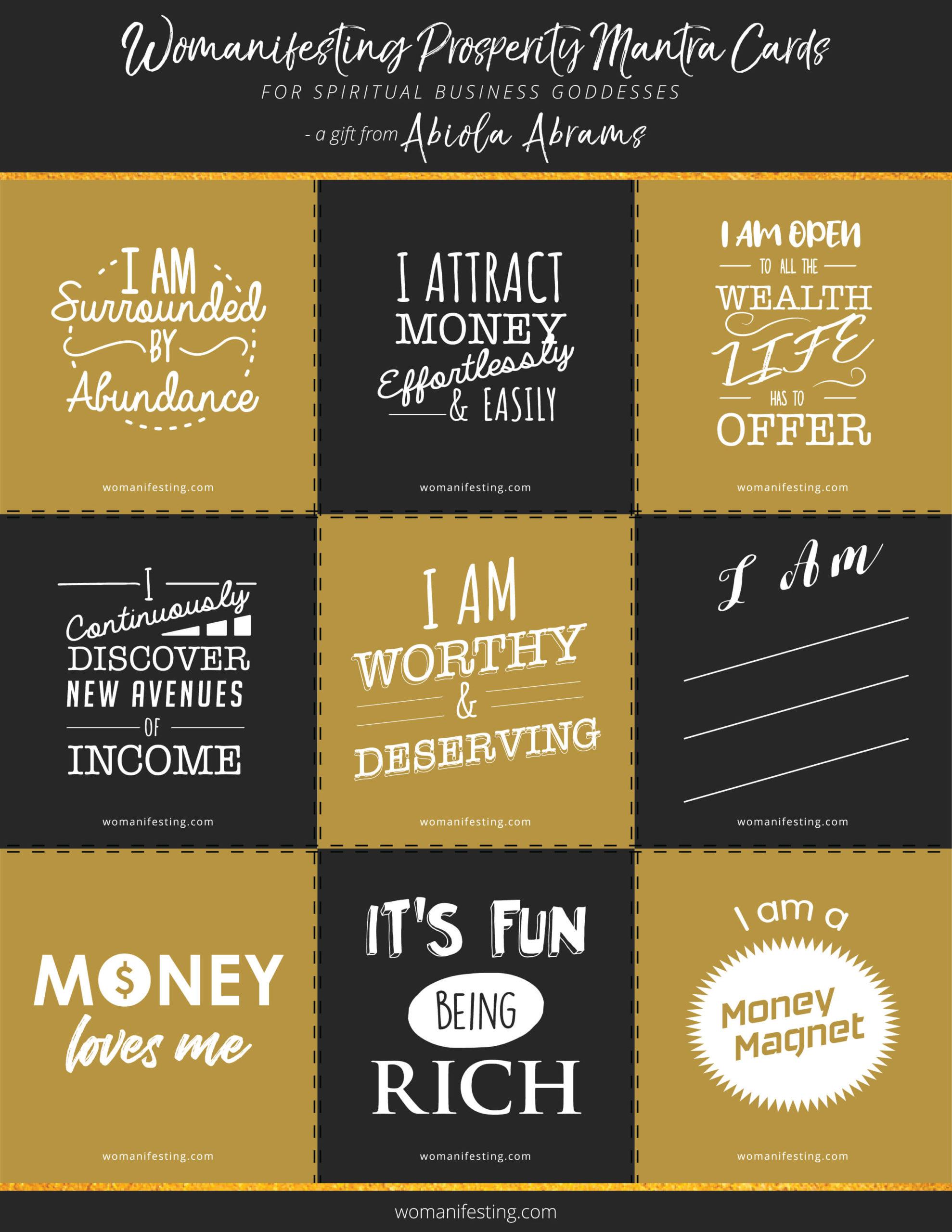 Free Printable Abundance and Prosperity Mantra Cards