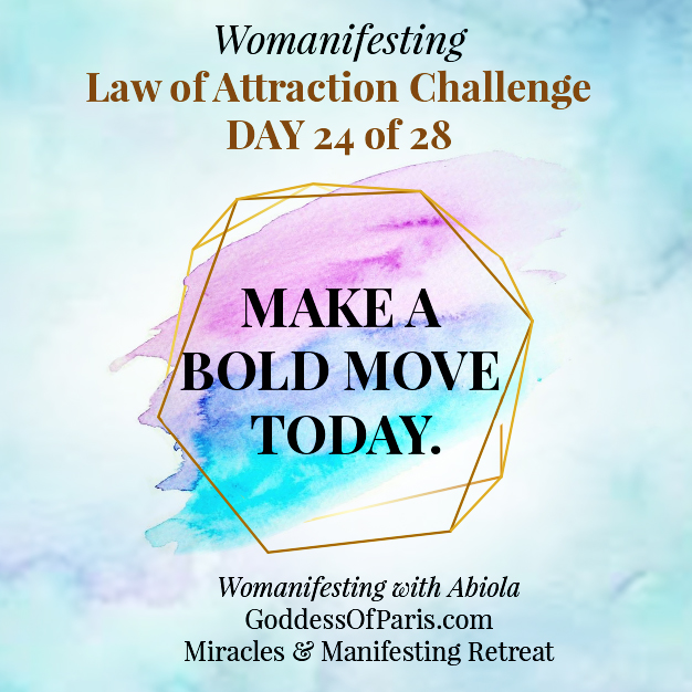 make a bold move - Look for signs that your manifestation is working.  I had a client who didn't even realize that she had manifested her $10K because it came via 4 different sources. What are the hints you're getting from the Universe that you are on the right track? Look for what is working instead of what is NOT working!!