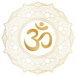 Aum Om Ohm symbol in decorative round mandala ornament.