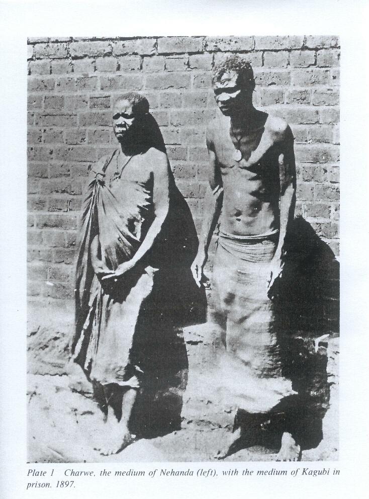 Nehanda Nyakasikana (left) and Sekuru Kaguvi (right), after their 1897 capture