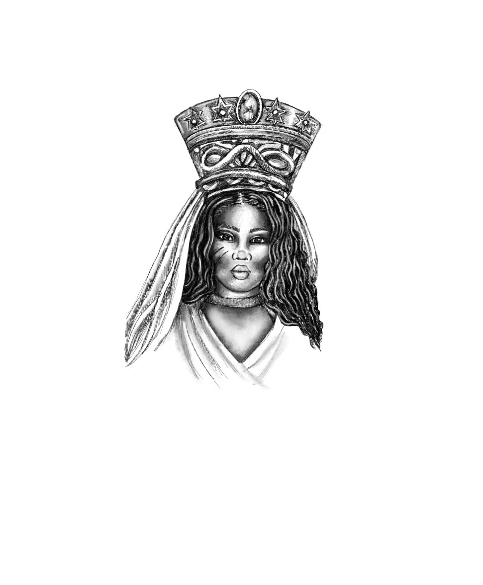 Sketch by Destiney Powell for African Goddess Initiation: Sacred Rituals for Self-Love, Prosperity and Joy