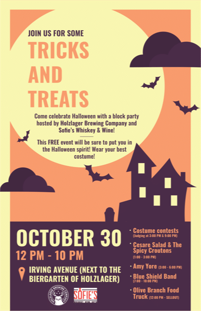 Tricks & Treats Holzlager Brewing and Sofie's Wine & Whiskey Block Party