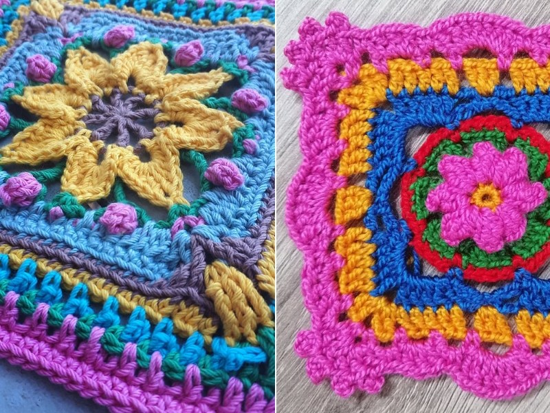 Color Bomb Squares Free Crochet Patterns