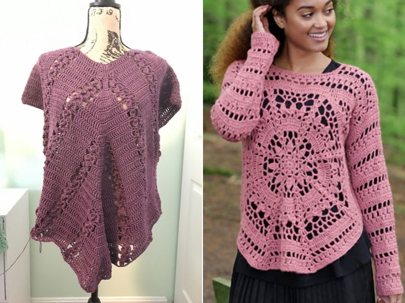 Free Patterns Floral Crochet Tops