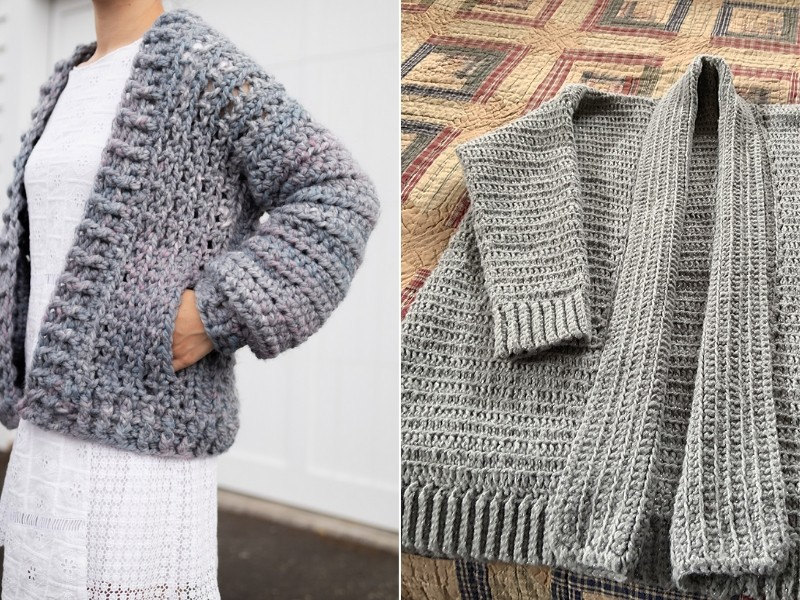 Chunky Grey Cardis Free Crochet Patterns