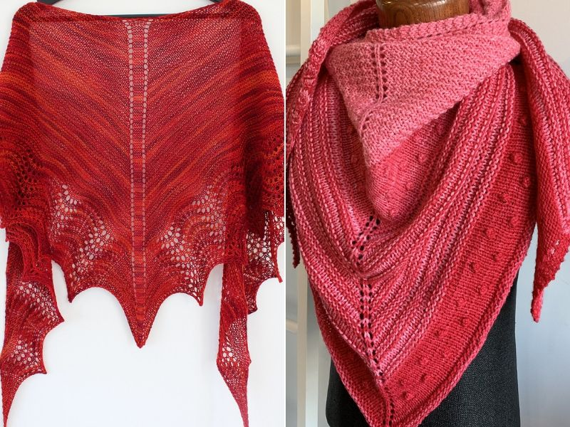 Flaming Red Knitted Shawls