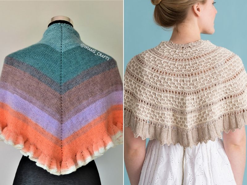 Knitted Shawlettes with Ruffles