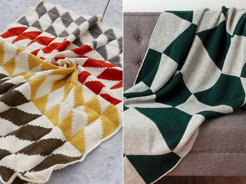 Free Patterns Geometric Crochet Blankets