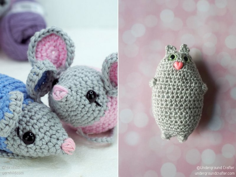 Felted Mouse Cat Toy Crochet Pattern PDF EASY - permission to sell ... | 600x800