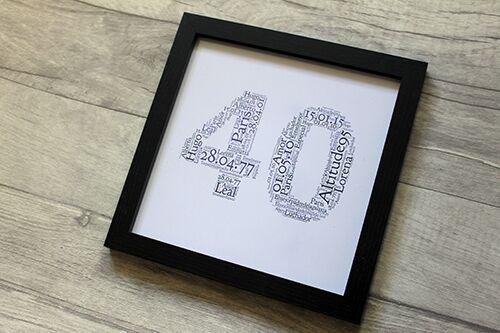 Forty Word Art 8x8 Birthday Presents For Mum Dad Friend Frame