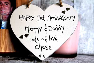 Handmade st anniversary mummy and daddy gift heart madeat