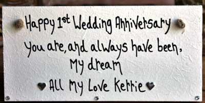 Happy 1st wedding anniversary plaque perfect gift