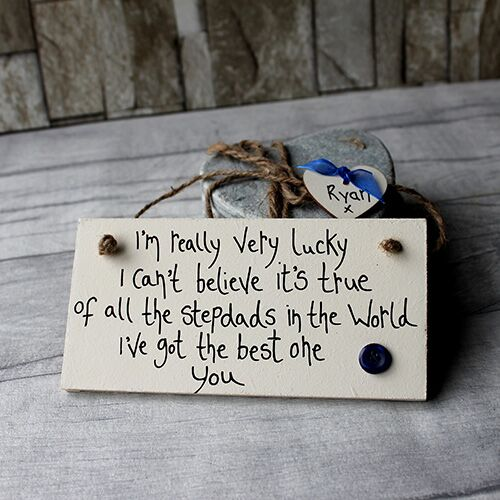 Im Really Very Lucky Personalised Plaque Sentimental Step Dad Gifts