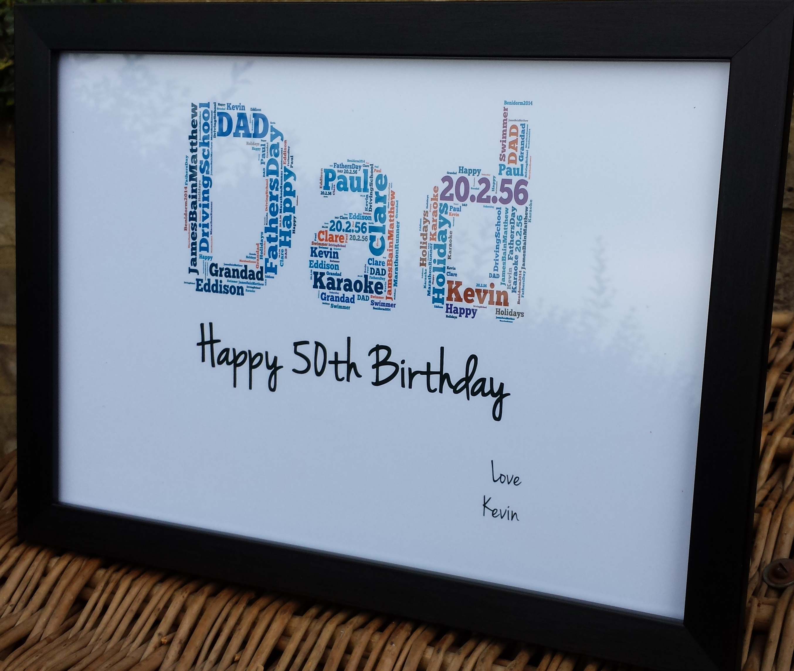 50th Dad Happy Birthday Word Art Frame Madeat94