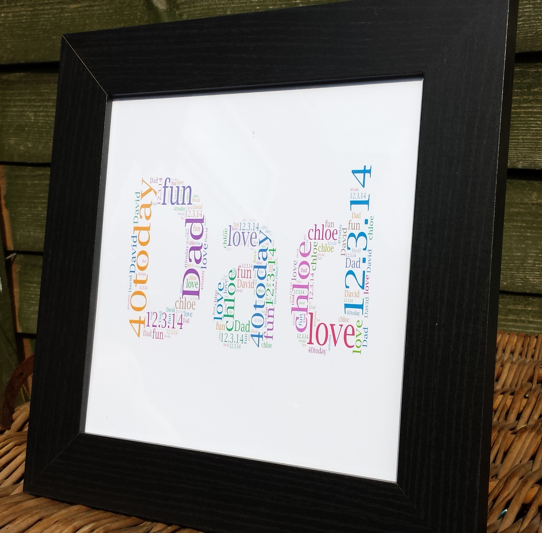 DAD 2\' Word Art Frame in black   MadeAt94