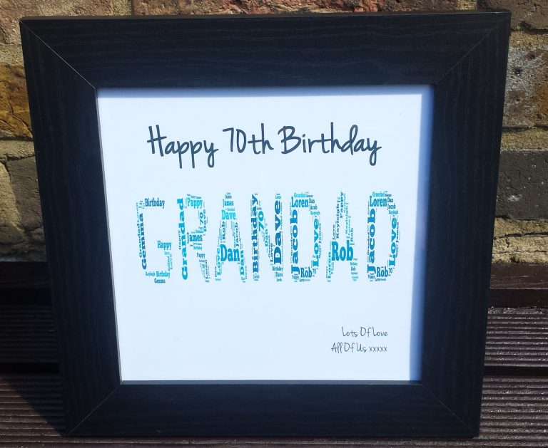 70th Birthday Gift Grandad Frame