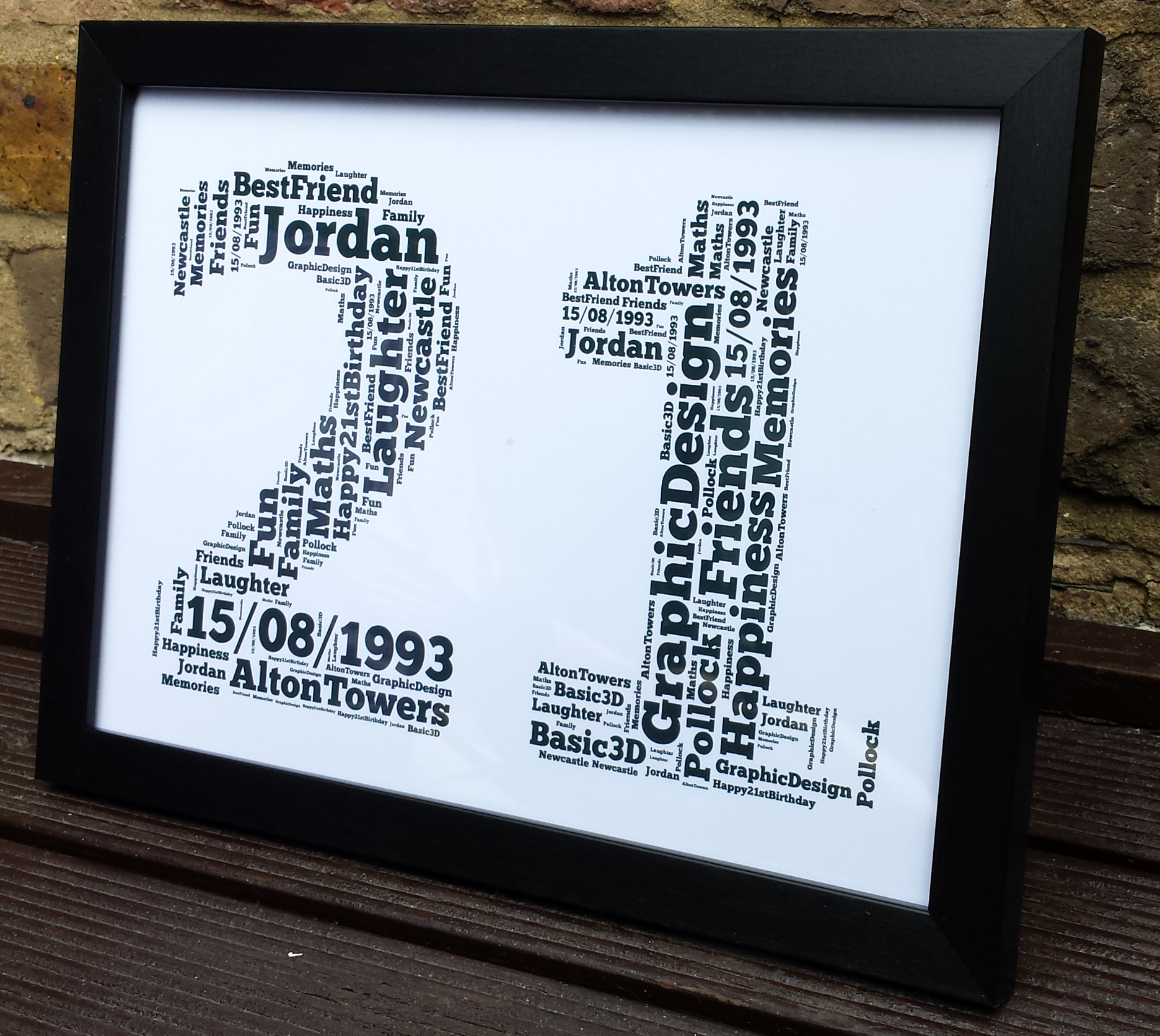 Personalised Happy 21st birthday Gift For Him & Her Word Art Frame ...