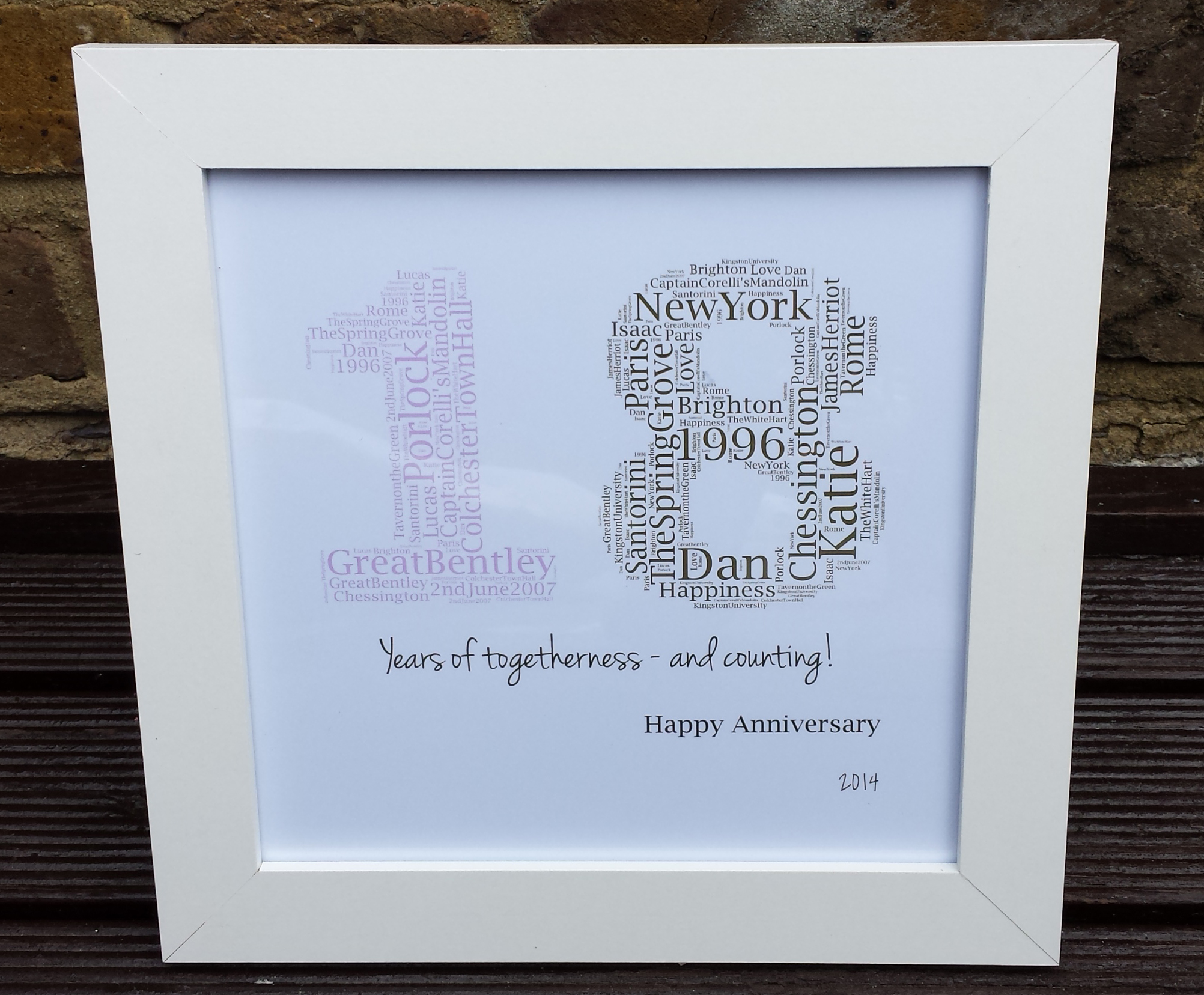 11th Wedding Anniversary Gift Ideas For Men: '18 Years Together As One' Personalised Wedding