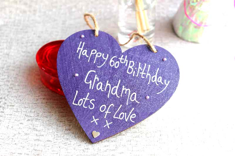 Personalised Purple Happy 60th Birthday Heart Madeat94