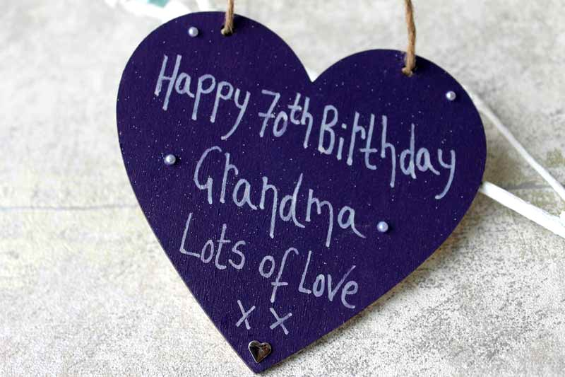personalised purple happy 70th birthday heart madeat94