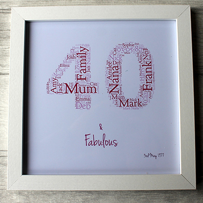 Forty And Fabulous Birthday Gift Frame Friend Mum Dad