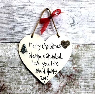 Personalised Merry Christmas Nanna and Grandad Heart | MadeAt94