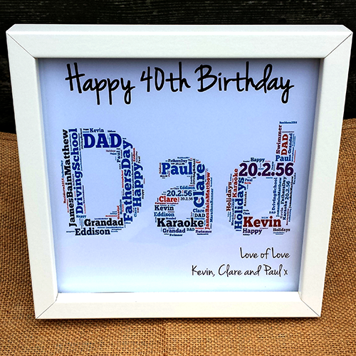 Happy Birthday Dad Frame Personalised 40th Gift