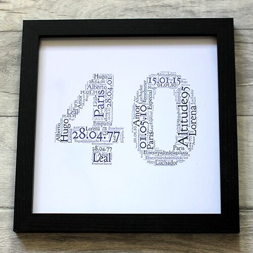 Forty Word Art 8x8 Birthday Presents For Mum Dad Friend Frame