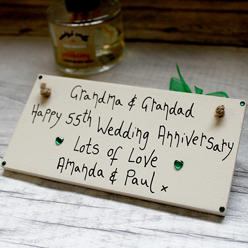 Personalised Cream 55th Wedding Anniversary Gifts Plaque