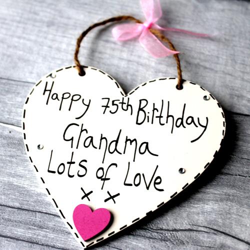 Personalised Cream 75th Birthday Grandma Plaque