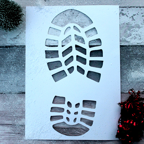 Santa Footprint Stencil Template For Floor On Christmas