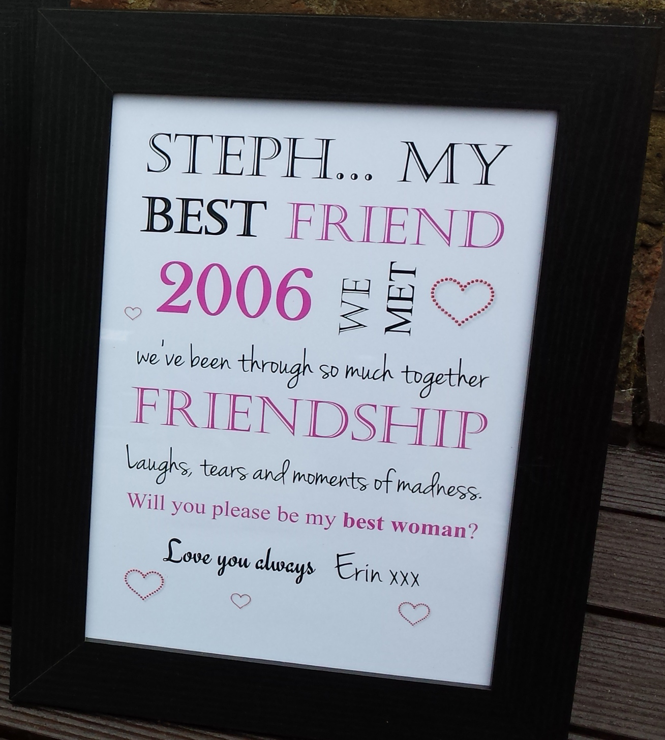 Will You Be My Bridesmaid Frame Personalised Madeat94