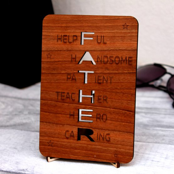 Father's Day Wishes Wooden Card
