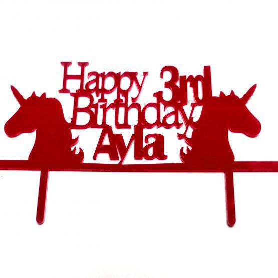 3rd birthday Unicorn Cake Topper