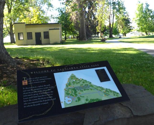 Interpretive signage at Sacajawea Historical State Park