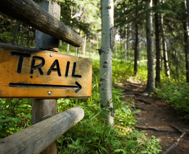 Trail signs for Lewis and Clark State Park