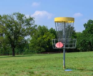 Disc golf basket at Brooks Memorial State Park