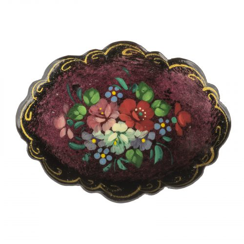 Russian lacquer jewelry pin