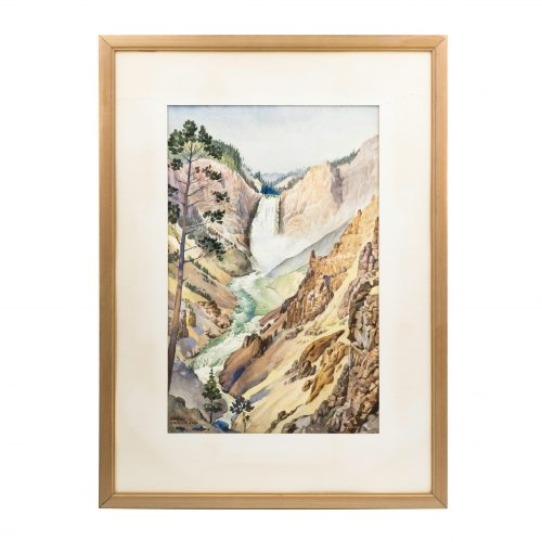 Yellowstone National Park watercolor painting of upper and lower Yellowstone River Falls Gustav Krollman
