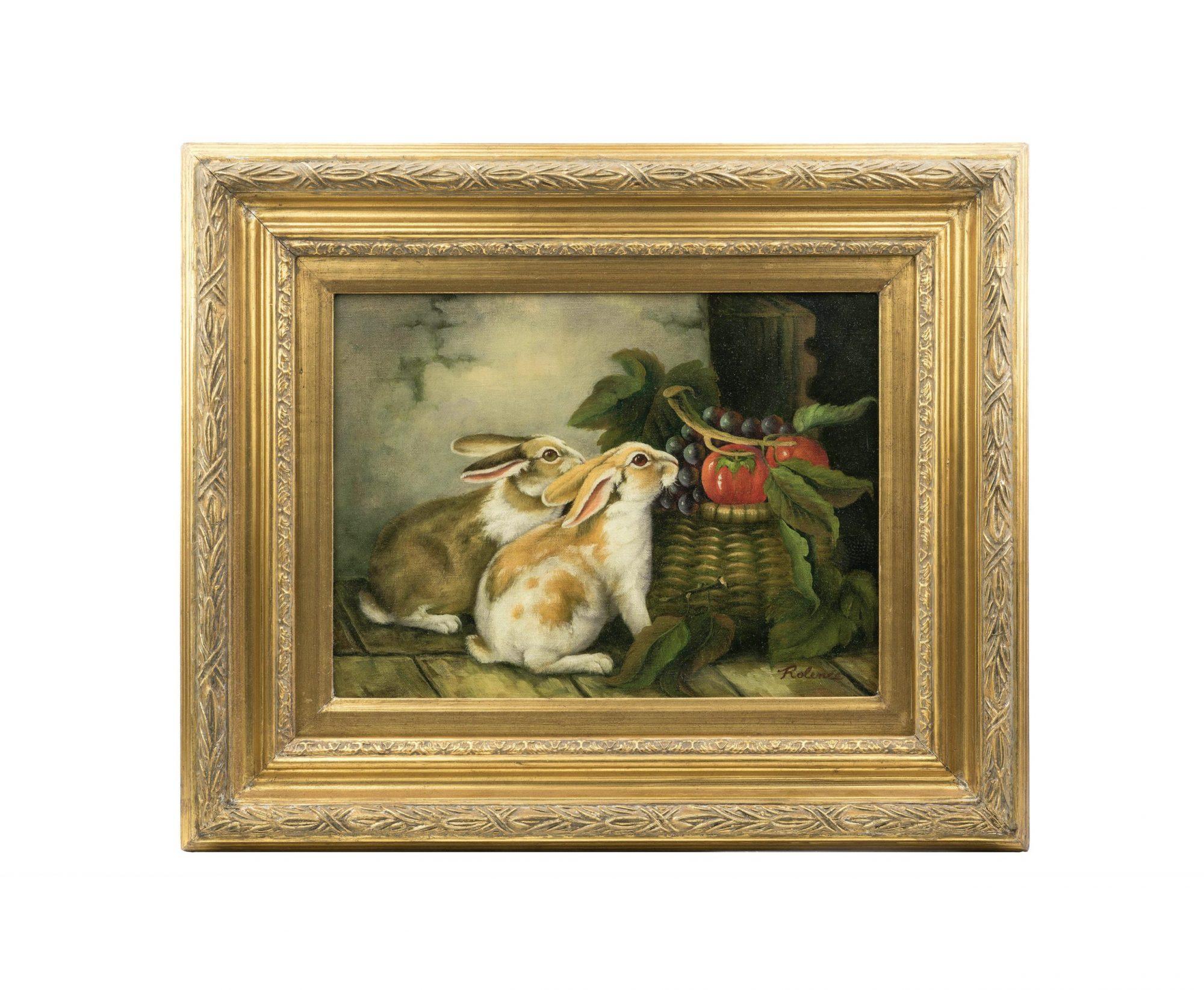 Still life painting rabbits feeding scene