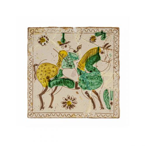 sgraffito pottery folk art ceramic tile
