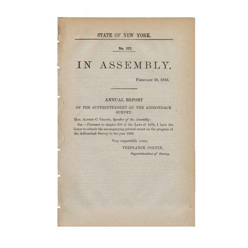 New York state assembly Adirondack survey 1883