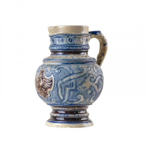 German stein salt glazed pottery pitcher